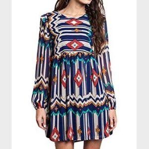 Umgee Aztec Tribal Print Long Sleeve Dress Medium